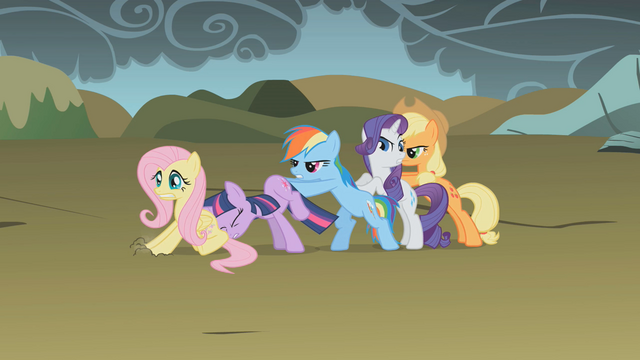 File:Main ponies trying to push Fluttershy S1E7.png