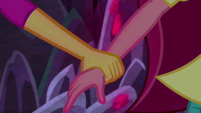 File:Sunset Shimmer grabs Gloriosa Daisy by the arm EG4.png