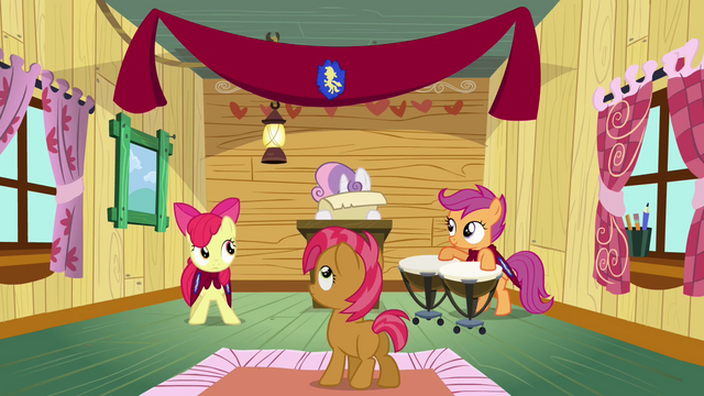 File:Sweetie Belle formally welcoming Babs Seed S03E04.png