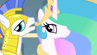 A Guard whispers to Celestia S1E22