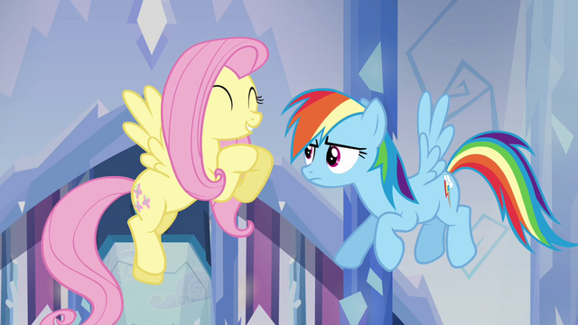 "File:Fluttershy and Rainbow Dash ""she's so nice!"" S03E12.png"