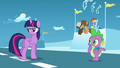 Twilight, Spike, and foals hear Starlight S5E26.png