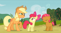 Babs Seed, Applejack, and Apple Bloom S3E8