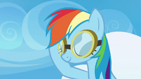 Rainbow Dash lowering her flight goggles S6E24