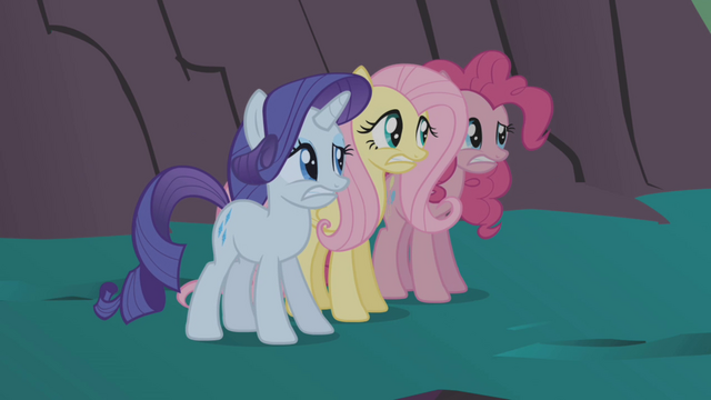 File:Rarity, Fluttershy, and Pinkie frightened S1E02.png