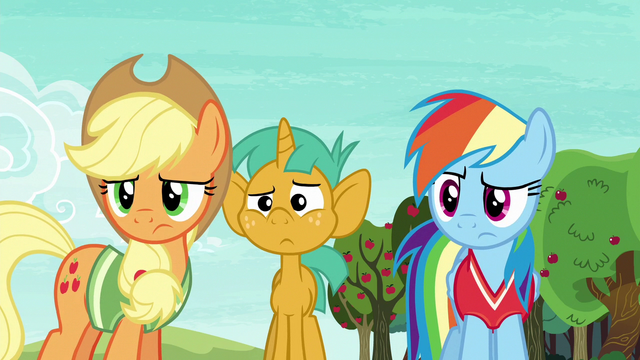 File:Applejack, Rainbow, and Snails looking confused S6E18.png