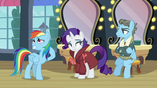 File:Rainbow blushes; Rarity looks at Wind Rider with a smug smile S5E15.png