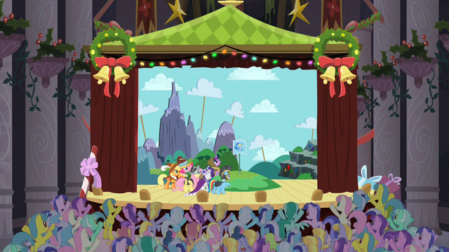File:Audience cheers when Equestria flag is planted onstage S2E11.png