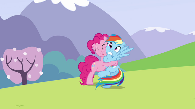 File:Pinkie Pie continues to hug Rainbow S3E7.png