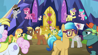 Ponies still arguing outside the castle S7E14
