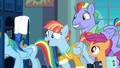 Rainbow's parents and Scootaloo appear in locker room S7E7.png