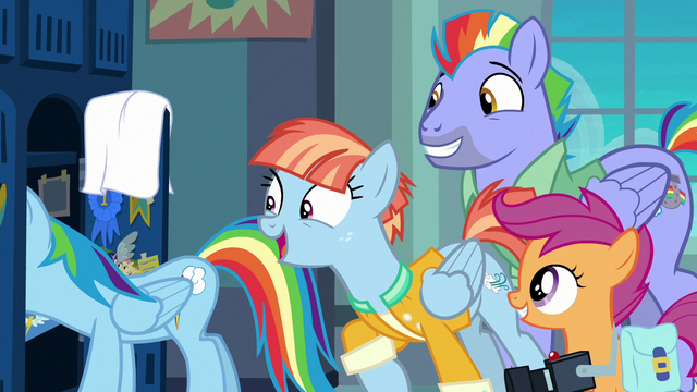 File:Rainbow's parents and Scootaloo appear in locker room S7E7.png