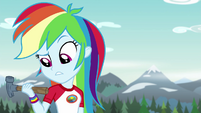 Rainbow Dash looking at her hammer EG4