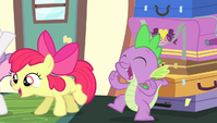 Spike and Apple Bloom cheering S4E24
