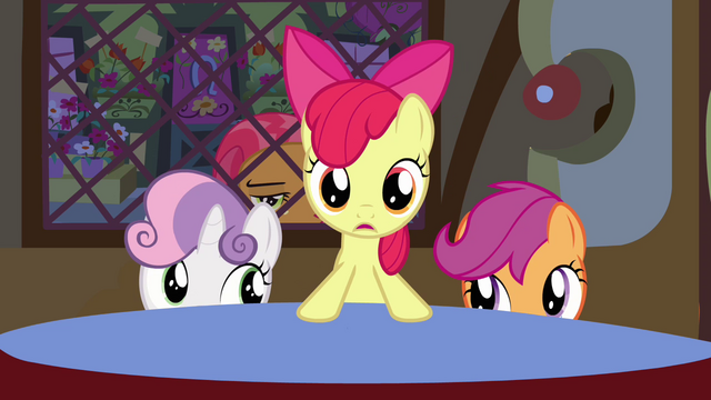 File:Apple Bloom standing at the table S3E4.png