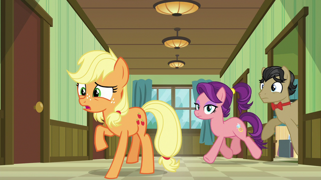 File:Applejack, Filthy, and Spoiled back in the hallway S6E23.png