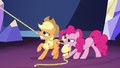 Pinkie and Applejack hoisting the chandelier S5E3.png
