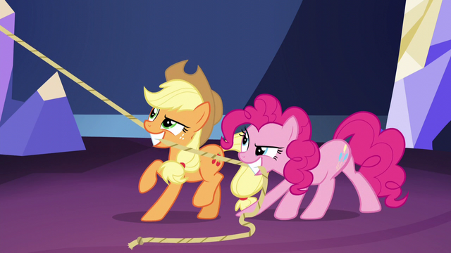 File:Pinkie and Applejack hoisting the chandelier S5E3.png