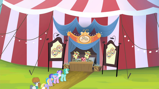 File:Ponies lining up for Flim and Flam S4E20.png