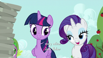 Rarity greets Twilight and Spike S6E10