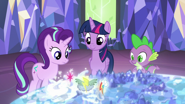 File:Twilight, Starlight, and Spike look at the Cutie Map S6E24.png