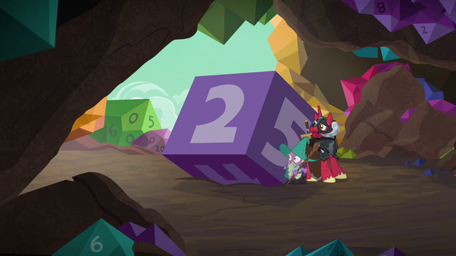 File:Garbunkle and McBiggen take shelter behind a giant die S6E17.png