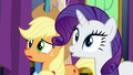 AJ and Rarity in varying degrees of surprise S7E1.png