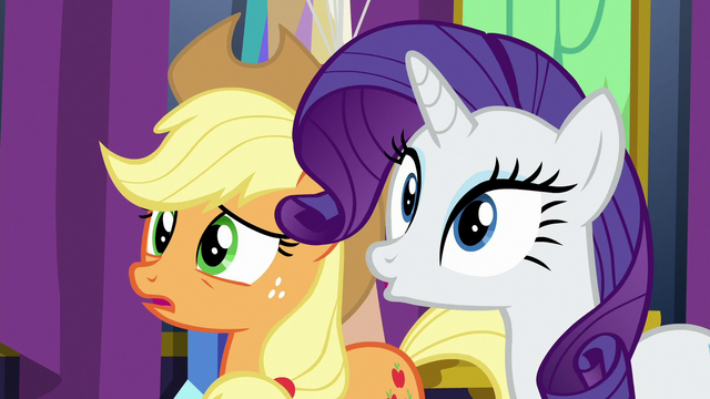 File:AJ and Rarity in varying degrees of surprise S7E1.png
