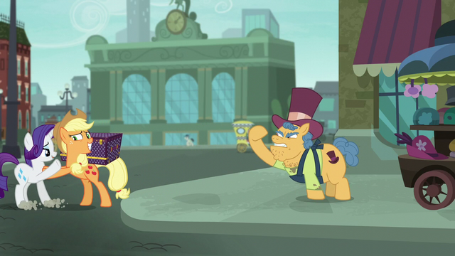 File:Applejack pushing Rarity away from merchant S5E16.png