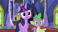 Twilight Sparkle and Spike in mild surprise S7E3