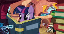 Twilight Sparkle seen reading a book S3E9
