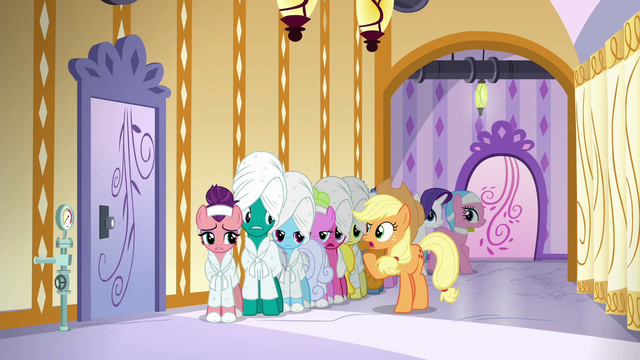"""File:Applejack """"why are y'all just standin' here?"""" S6E10.png"""