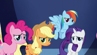 Pinkie, AJ, RD, and Rarity feeling guilty S5E22