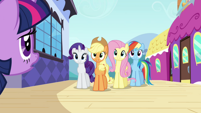 File:Twilight meets her friends S3E01.png