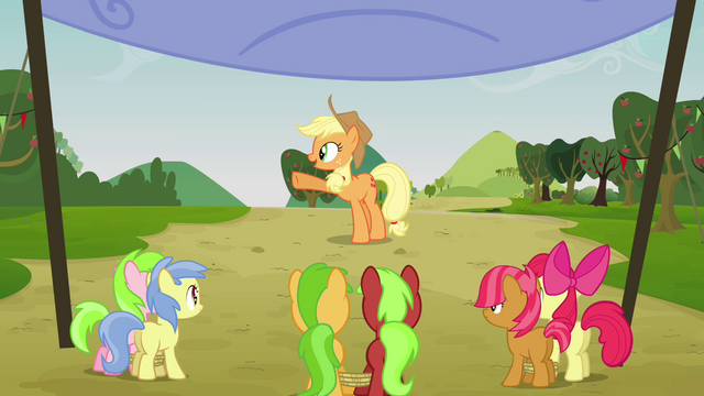 File:Applejack points at her right S3E08.png