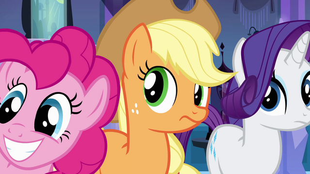 File:Pinkie Pie, Applejack, and Rarity listening to Luna EG.png