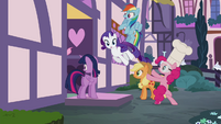 Pinkie Pie throwing her friends into the Sugarcube Corner S4E18