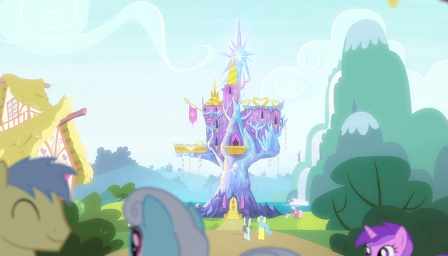 File:Ponies fraternize outside the castle S5E01.png