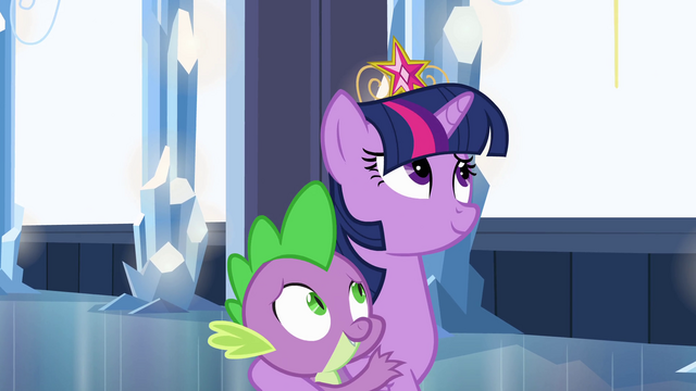 File:Princess Twilight holding Spike close EG.png