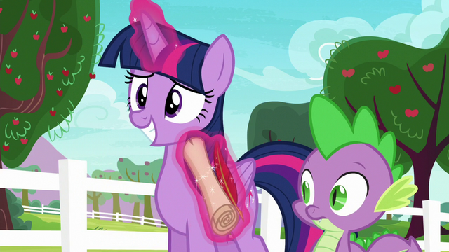 File:Twilight gives Spike the scroll and quill once more S6E22.png