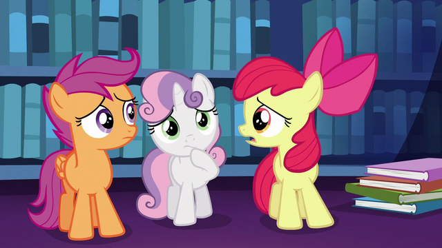"File:Apple Bloom ""what the apples are we ever gonna tell her?"" S6E19.png"