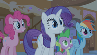 "Pinkie Pie, Rarity, Spike and Rainbow Dash ""A what!?"" S01E09"