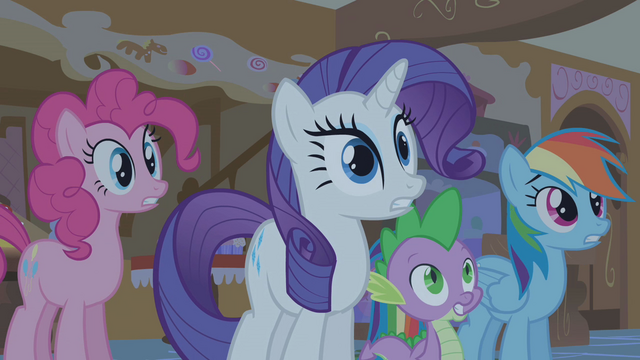 """File:Pinkie Pie, Rarity, Spike and Rainbow Dash """"A what!?"""" S01E09.png"""