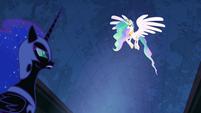 Princess Celestia flying above Nightmare Moon S4E02