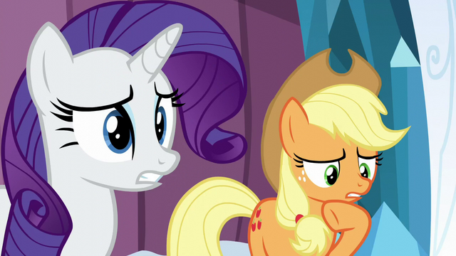 File:Rarity worried; Applejack thinking S6E2.png