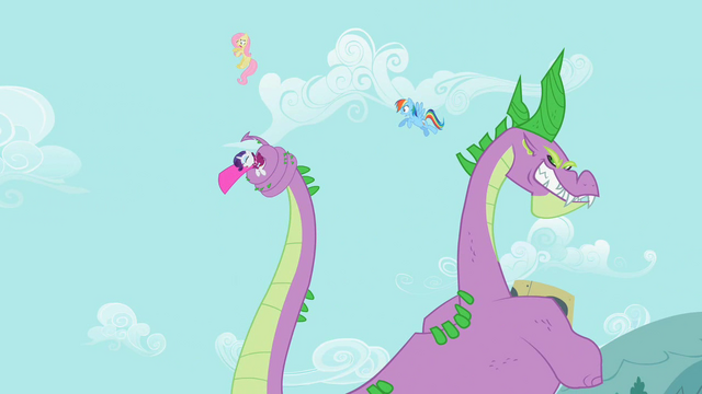 File:Spike swipes at Fluttershy and Rainbow Dash with tail S2E10.png