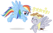 512728 safe rainbow+dash derpy+hooves japanese artist-colon-dm29