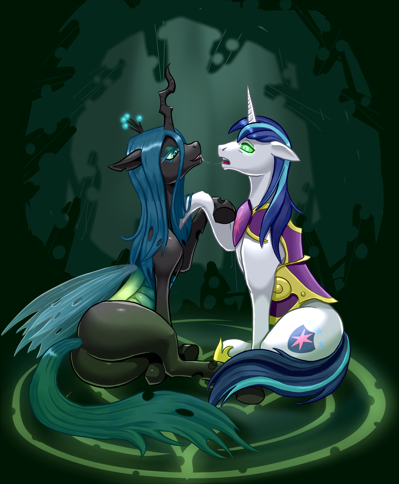 Image - Queen Chrysalis kissing a mind controlled Shining ...