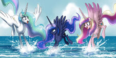 Princess Celestia, Princess Luna and Princess Cadence playing wallpaper by artist-johnjoseco