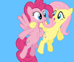 Pinkie Pie and Fluttershy flying